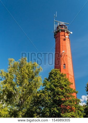 Historical Lighthouse on the Hel Peninsula, located at the Baltic Sea coast Poland, Pomerania region