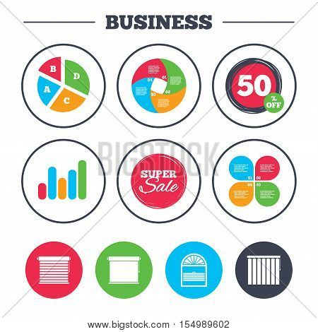 Business pie chart. Growth graph. Louvers icons. Plisse, rolls, vertical and horizontal. Window blinds or jalousie symbols. Super sale and discount buttons. Vector