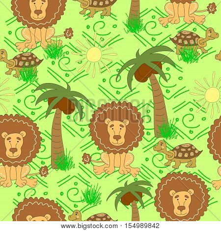 African animals pattern. Seamless pattern with  turtle,  lion, palm tree, sun, grass on a green background.