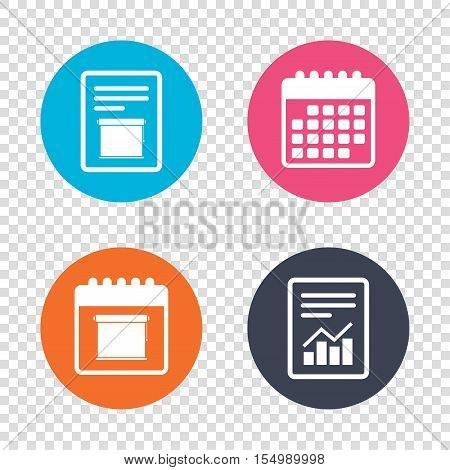 Report document, calendar icons. Louvers rolls sign icon. Window blinds or jalousie symbol. Transparent background. Vector