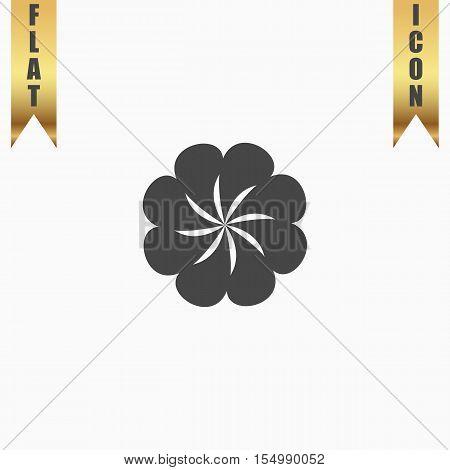 Swirl. Flat Icon. Vector illustration grey symbol on white background with gold ribbon