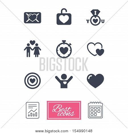 Love, valentine day icons. Target with heart, oath letter and locker symbols. Couple lovers, boyfriend signs. Report document, calendar icons. Vector