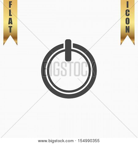 Simple coffee cup - top view. Flat Icon. Vector illustration grey symbol on white background with gold ribbon