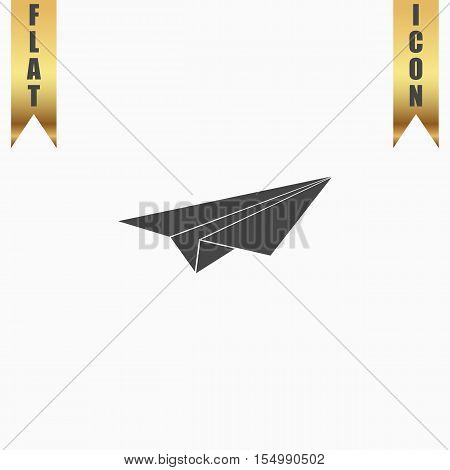 Paper Plane. Flat Icon. Vector illustration grey symbol on white background with gold ribbon