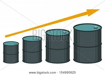 Vector illustration of oil barrels and price growth graph
