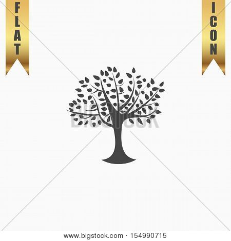 Decorative simple tree. Flat Icon. Vector illustration grey symbol on white background with gold ribbon