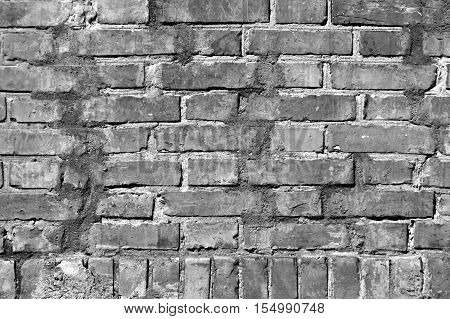 Grungy Black And White Brick Wall Texture.