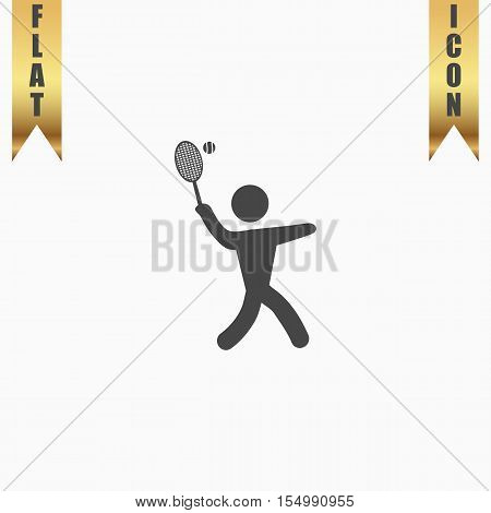 Tennis player, silhouette. Flat Icon. Vector illustration grey symbol on white background with gold ribbon