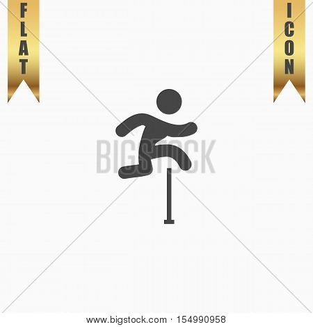 Man figure jumping over obstacles. Flat Icon. Vector illustration grey symbol on white background with gold ribbon