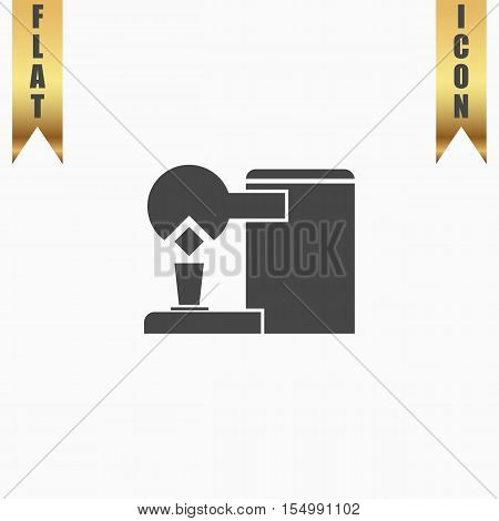 Coffee maker. Flat Icon. Vector illustration grey symbol on white background with gold ribbon