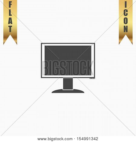 Simple monitor. Flat Icon. Vector illustration grey symbol on white background with gold ribbon