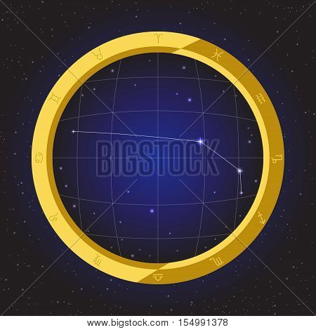 aries star horoscope zodiac in fish eye telescope golden ring frame with cosmos background