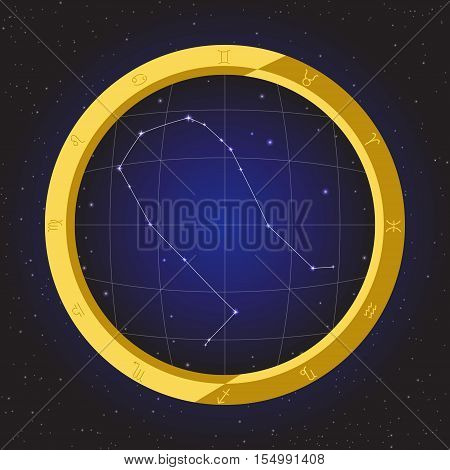 gemini star horoscope zodiac in fish eye telescope golden ring frame with cosmos background