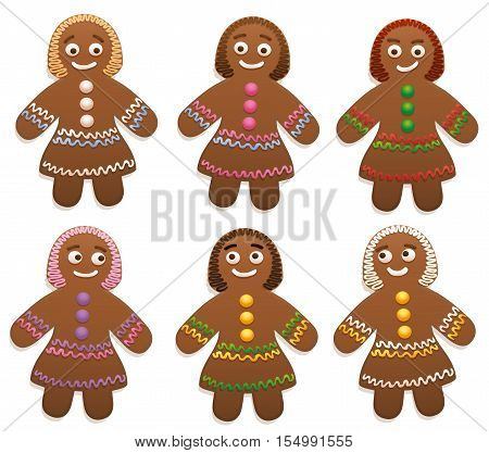 Female gingerbread man group - isolated vector illustration on white background.