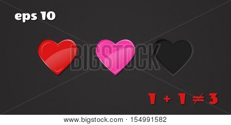 Vector illustration with hearts. Relationships and love. Third superfluous.