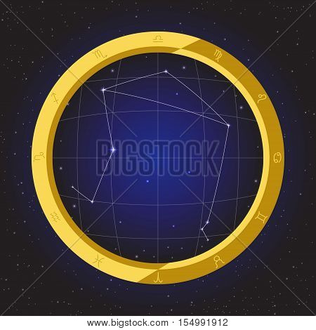 libra star horoscope zodiac in fish eye telescope golden ring frame with cosmos background