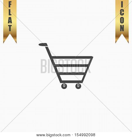Trolley market. Flat Icon. Vector illustration grey symbol on white background with gold ribbon
