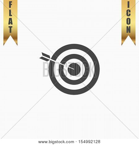 Successful shoot. Flat Icon. Vector illustration grey symbol on white background with gold ribbon