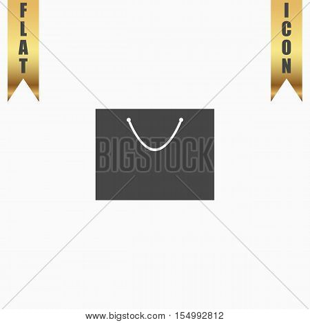 Simple shopping bag. Flat Icon. Vector illustration grey symbol on white background with gold ribbon