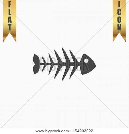 Fish skeleton. Flat Icon. Vector illustration grey symbol on white background with gold ribbon