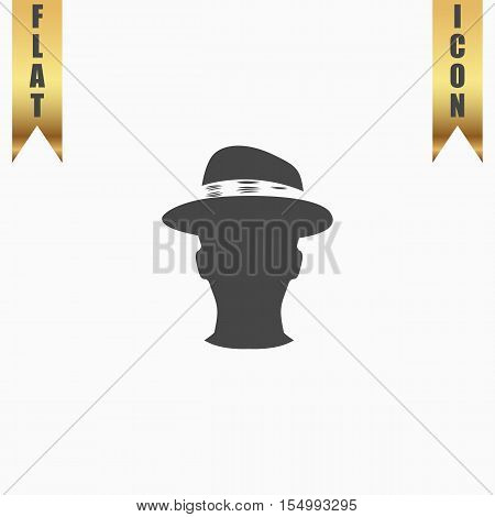 Man head with hat. Flat Icon. Vector illustration grey symbol on white background with gold ribbon