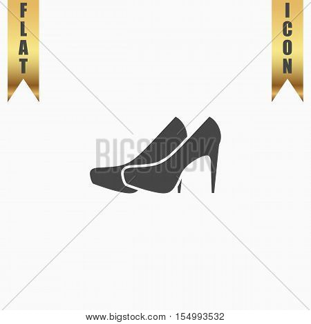 Pair of shoes. Flat Icon. Vector illustration grey symbol on white background with gold ribbon