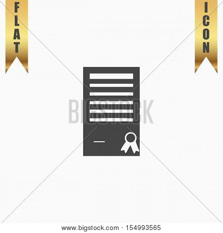 Certificate symbol. Flat Icon. Vector illustration grey symbol on white background with gold ribbon