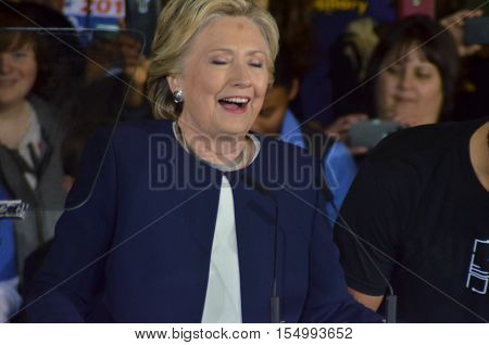 Hillary Clinton addresses the crowd at a campaign rally in Pittsburgh PA campaign 2016