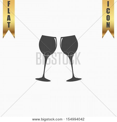 Two glasses of wine or champagne. Flat Icon. Vector illustration grey symbol on white background with gold ribbon