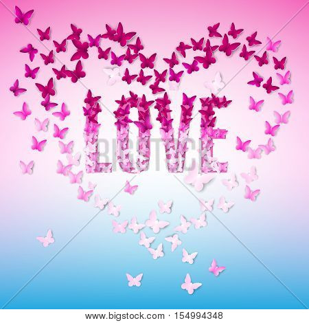 Greeting illustration with text-love and butterfly.Valentine day
