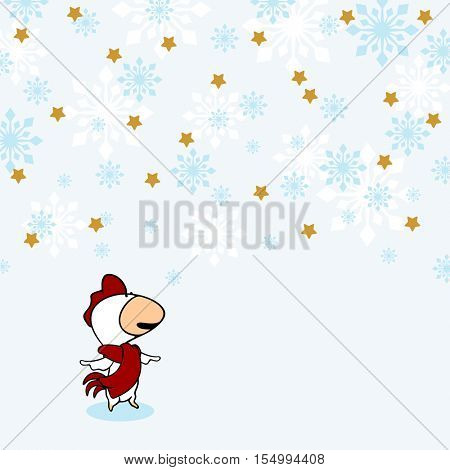 Little Rooster under snow (raster version)