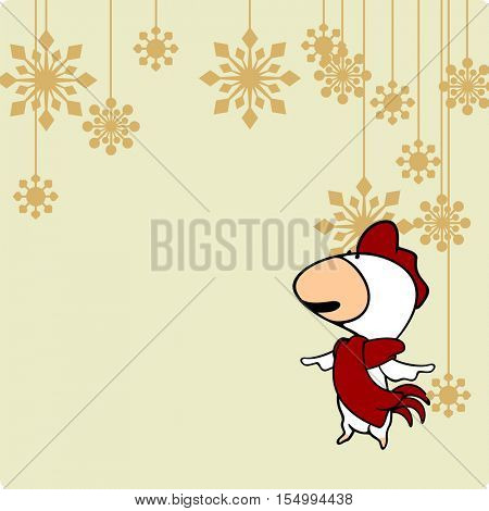 Greeting card with a Rooster looking at holiday decoration (raster version)