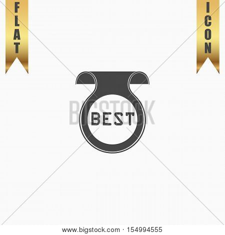 Bookmark with Best message. Flat Icon. Vector illustration grey symbol on white background with gold ribbon