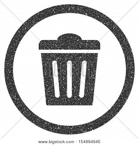 Trash Can rubber seal stamp watermark. Icon symbol inside circle frame with grunge design and dirty texture. Scratched vector gray ink sticker on a white background. poster