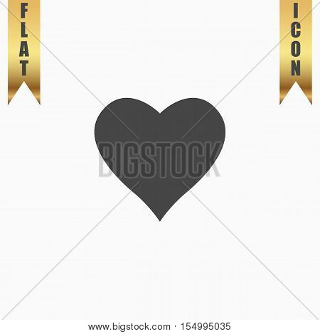 Heart pictogram. Flat Icon. Vector illustration grey symbol on white background with gold ribbon