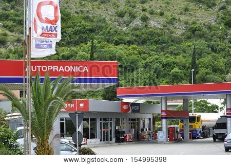 Igalo, Montenegro - June 15, 2016: Hip Hop Petrol gas station is located in Igalo town, Montenegro.