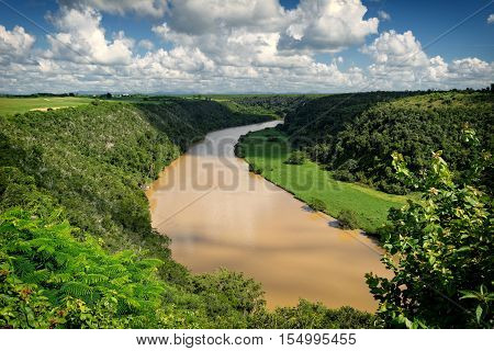 Aerial view of tropical river Chavon in Dominican Republic