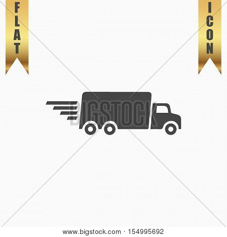 Delivery truck. Flat Icon. Vector illustration grey symbol on white background with gold ribbon