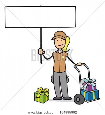 Woman from parcel service with christmas gifts holding up empty sign