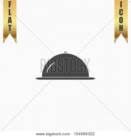 Restaurant cloche. Flat Icon. Vector illustration grey symbol on white background with gold ribbon