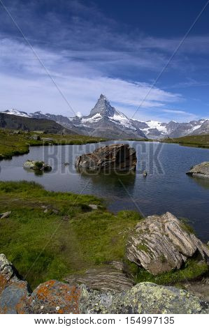 view of matterhorn and a small lake