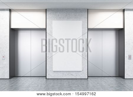 Two Closed Elevators In Corridor With Concrete Walls And Poster
