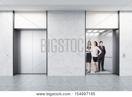 People standing in open elevator in office with concrete walls. The second elevator is closed. Concept of people transition in office. 3d rendering. Mock up