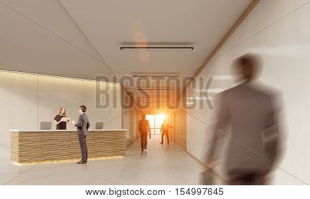 Side view of man talking to a receptionist while his twin is approaching. Concept of utopian future with clones. 3d rendering. Mock up. Toned image