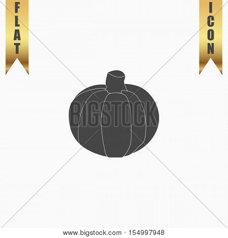 Pumpkin. Flat Icon. Vector illustration grey symbol on white background with gold ribbon