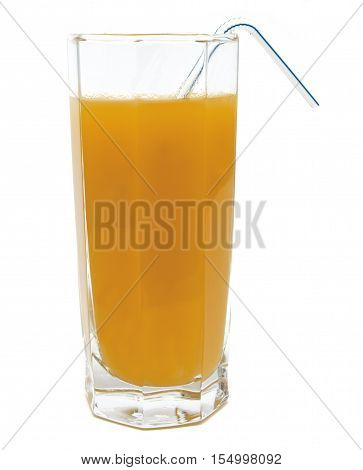 Peach fruit juice in glass with tubule isolated on white background