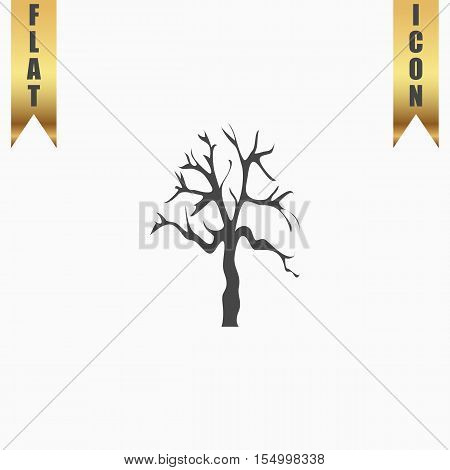 Tree Silhouette. Flat Icon. Vector illustration grey symbol on white background with gold ribbon