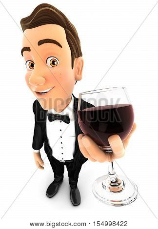 3d waiter holding glass of red wine illustration with isolated white background