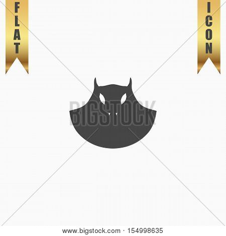 Executioner evil face mask. Flat Icon. Vector illustration grey symbol on white background with gold ribbon