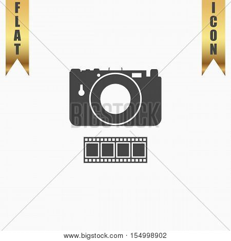 Photography camera and film. Flat Icon. Vector illustration grey symbol on white background with gold ribbon